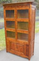 Walnut Standing Glazed Bookcase Cabinet